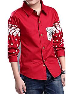 Trykt mønster,Guttens Vår Skjorte Bomull