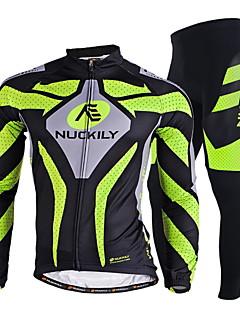 billige Sett med sykkeltrøyer og shorts/bukser-Nuckily Herre Langermet Sykkeljersey med tights - Grønn Sykkel Klessett, Fort Tørring, Ultraviolet Motstandsdyktig, Pustende,