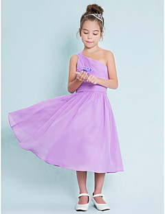 A-Line One Shoulder Tea Length Chiffon Junior Bridesmaid Dress with Side Draping by LAN TING BRIDE®