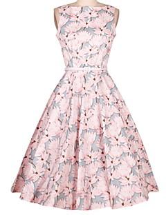Kadın Dışarı Çıkma Vintage A Şekilli Elbise Çiçekli,Kolsuz Yuvarlak Yaka Midi Pamuklu Tüm Mevsimler Yüksek Bel Mikro-Esnek