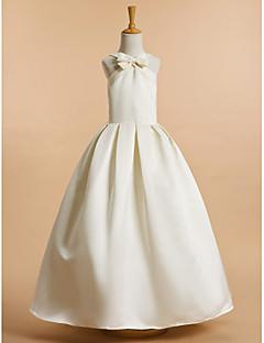 billiga Första nattvardsklänningar-A-linje Ankellång Brudnäbbsklänning - Satäng Ärmlös V-hals med Rosett(er) av LAN TING BRIDE®