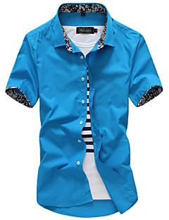 メンズ カジュアル/普段着 ワーク フォーマル シャツ ソリッド コットン 半袖