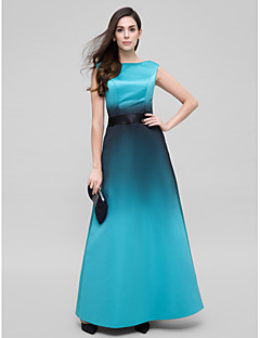 A-Line Scoop Neck Ankle Length Satin Prom Formal Evening Dress with Sash / Ribbon by TS Couture®