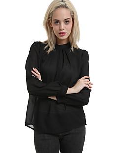 Dame Rotund Bluză Elegant Simplu(ă),Mată Manșon Lung Primăvară-Roz / Negru Mediu Poliester