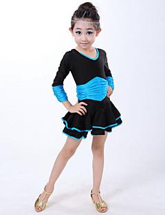 baratos Roupas de Dança Latina-Dança Latina Vestidos Espetáculo Elastano Pregueado Manga Longa Natural Vestido