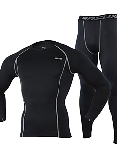 cheap Cycling Underwear & Base Layer-Arsuxeo Men's Long Sleeves Cycling Jersey with Tights - Black Gray Light Green Dark Navy Bike Tights Jersey, Thermal / Warm, Quick Dry,