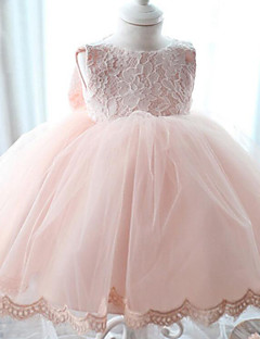 A-Line Floor Length Flower Girl Dress - Chiffon Lace Sleeveless Scoop Neck with Bow(s) by YDN