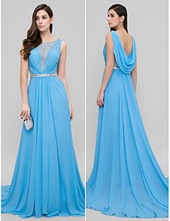 Γραμμή Α Ουρά μέτριου μήκους Σιφόν Επίσημο Βραδινό Φόρεμα με Χάντρες με TS Couture®