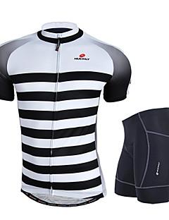 abordables -Nuckily Maillot et Cuissard de Cyclisme Homme Manches Courtes Vélo Ensemble de Vêtements Pare-vent Design Anatomique Perméabilité à