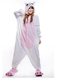 billige Kigurumi-Voksne Kigurumi-pysjamas Kat Onesie-pysjamas Polar Fleece Hvit Cosplay Til Damer og Herrer Pysjamas med dyremotiv Tegnefilm Festival / høytid kostymer