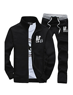 cheap Men's Hoodies & Sweatshirts-Hot Sale Two-Piece Men's Long Sleeve Set,Cotton / Polyester Solid Casual Sport Outerwear Coat