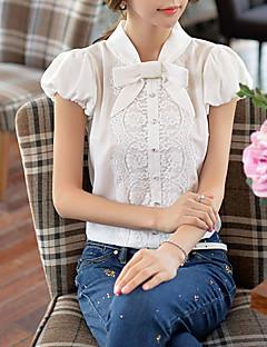 Damen Solide Retro / Einfach Arbeit Hemd,Rundhalsausschnitt Sommer Kurzarm Weiß Polyester / Nylon Dünn