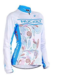 billige Sykkeljerseys-Nuckily Dame Langermet Sykkeljersey - Blå Geometrisk Sykkel Jersey, Anatomisk design, Ultraviolet Motstandsdyktig, Pustende Polyester