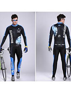 billige Sett med sykkeltrøyer og shorts/bukser-Herre Langermet Sykkeljersey med tights - Mørkeblå Sykkel Klessett, Fort Tørring, Pustende, Svettereduserende, Refleksbånd, Vår,