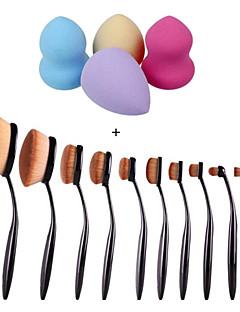 10stk / sæt tandbørste øjenbryn fundament eyeliner læbe ovale pensler + 4stk makeup fundament puff form svampe