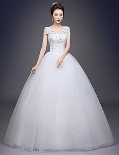 μπάλα φόρεμα σέσουλα πάτωμα λαιμό μήκος μήκος τούλι νυφικό με εφαρμογές από κεντημένο νυφικό