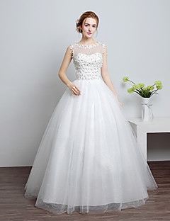 cheap Wedding Dresses-Ball Gown Scoop Neck Floor Length Lace / Satin / Tulle Made-To-Measure Wedding Dresses with Lace by LAN TING Express / Sparkle & Shine