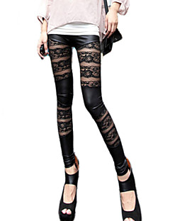 Damer Blondeapplikation Legging,Polyester Normal