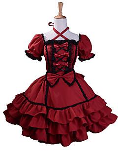 billiga Lolitaklänningar-Gotisk Lolita Söt Lolita Prinsessa Dam Klänningar Cosplay Röd Puff Kortärmad Medium längd