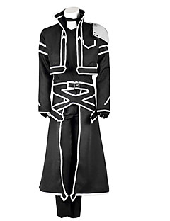 cheap Anime Costumes-Inspired by Sword Art Online Kirito Anime Cosplay Costumes Cosplay Suits Solid Long Sleeves Coat Pants Gloves Apron T-shirt For Male