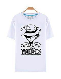 """billige Anime Kostymer-Inspirert av One Piece Monkey D. Luffy Anime  """"Cosplay-kostymer"""" Cosplay T-skjorte Trykt mønster Kortermet Topp Til Herre / Dame Halloween-kostymer"""