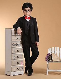 cheap Ring Bearer Suits-Black Cotton Ring Bearer Suit - Six-piece Suit Includes  Jacket Waist cummerbund Vest Shirt Pants Bow Tie