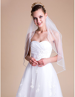 Two-tier Wedding Veil Elbow Veils With Rhinestones 31.5 in (80cm) Tulle
