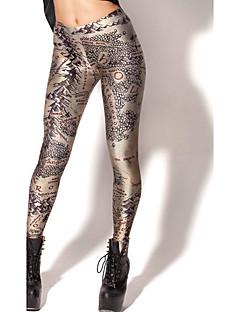 baratos Leggings para Mulheres-Mulheres Esportivo Legging - Galáxia, Estampado Cintura Média