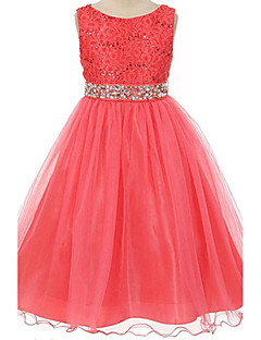 Girl's Cotton Summer Flower Printing Rhinestone Belt Lace Princess Dress