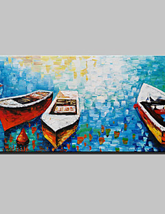 tanie Portrety abstrakcyjne-Ręcznie malowane Martwa natura Poziomy, Nowoczesny Brezentowy Hang-Malowane obraz olejny Dekoracja domowa Jeden panel