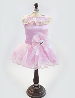 billiga Hundkläder-Katt Hund Klänningar Hundkläder Pärla Blommig/Botanisk Vit Rosa Blandat Material Kostym För husdjur Dam Mode