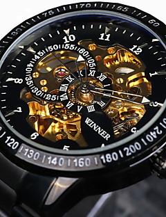 WINNER 男性 スケルトン腕時計 リストウォッチ 機械式時計 耐水 透かし加工 速度計 光る 自動巻き ステンレス バンド ビンテージ クール ラグジュアリー ブラック シルバー