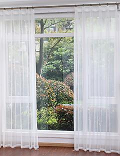 baratos Cortinas Transparentes-Anéis Único Plissado Dois Painéis Tratamento janela Modern, Estampado Sólido Sala de Estar Poliéster Material Sheer Curtains Shades