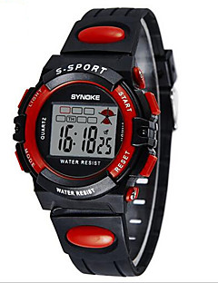 SYNOKE Kinder Sportuhr Armbanduhr Digitaluhr LCD Kalender Chronograph Wasserdicht Alarm leuchtend digital PU Band Schwarz Blau Grün