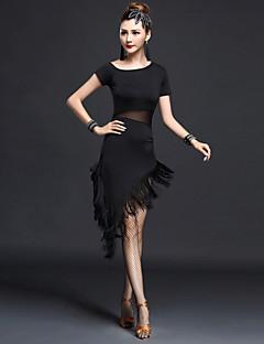 Latein-Tanz Kleider Damen Vorstellung Chinlon Nylon 1 Stück Kurze Ärmel Hoch Kleid
