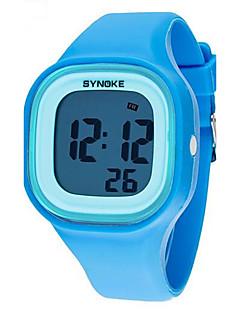 billige Børneure-SYNOKE Quartz Armbåndsur Alarm Kalender Kronograf Vandafvisende LCD Selvlysende Plastik Bånd Elegant Sort Hvid Blåt