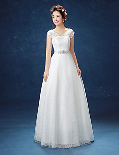 A-Line Scoop Neck Floor Length Tulle Wedding Dress with Lace by Embroidered bridal