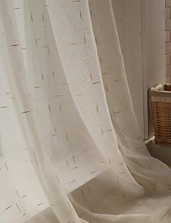 baratos Cortinas Transparentes-Barra no Interior Anéis Presilhas Duplo Plissado Único Plissado Dois Painéis Tratamento janela Modern, Jacquard Xadrez Sala de Estar