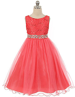 tanie Odzież dla dziewczynek-Sukienka Poliester Dziewczyny Wyjściowe Żakard Lato Bez rękawów Koronka Gray Czerwony Green Niebieski Fuksja
