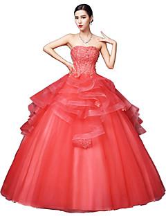 저렴한 특별한 이벤트 드레스-볼 드레스 끈없는 스타일 바닥 길이 새틴 튤 스트래치 새틴 포멀 이브닝 드레스 와 크리스탈 디테일 레이스 으로 LAN TING Express