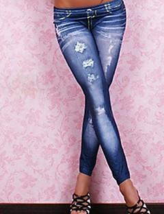 tanie Getry-Damskie Jeans Legging Jendolity kolor Niski stan