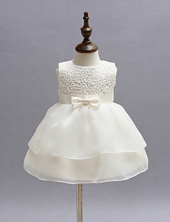 Baby Party Solid Dress,Polyester Summer-Bow Dresswear Sleeveless White