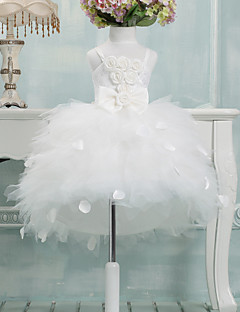 cheap Flower Girl Dresses-Ball Gown Asymmetrical Flower Girl Dress - Tulle Sleeveless Spaghetti Straps with Bow(s) by LAN TING Express