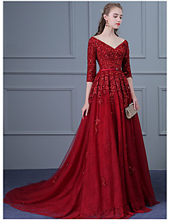 cheap -Ball Gown V-neck Sweep / Brush Train Tulle Formal Evening Dress with Beading Appliques Sash / Ribbon Sequins by DRRS