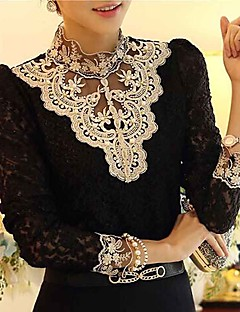 Women's Lace Lace Crochet Black/Beige Blouse,Vintage Stand Collar Long Sleeve