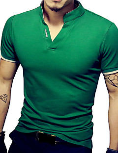 Men's Fashion Solid V Neck Slim Fit Short Sleeve T-Shirt, Cotton/Spandex /Casual
