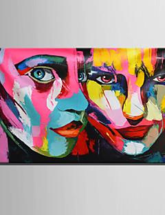 tanie Portrety abstrakcyjne-Ręcznie malowane Ludzie Poziomy, Fason europejski Nowoczesny Brezentowy Hang-Malowane obraz olejny Dekoracja domowa Jeden panel