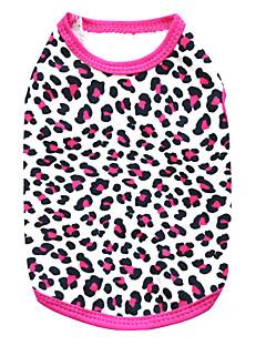 baratos -Gato Cachorro Camiseta Roupas para Cães Respirável Fashion Leopardo Preto Rosa Preto/Amarelo Ocasiões Especiais Para animais de estimação
