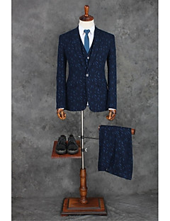 Navy Blue Patterns Tailored Fit Polyester Suit - Peak Single Breasted One-button