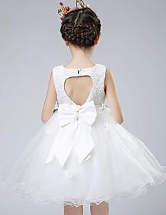 tanie Ubiór ślubny dla dzieci-Balowa Do kolan Sukienka dla dziewczynki z kwiatami - Bawełna Koronka Organza Satyna Bez rękawów Zaokrąglony z Kokardki Koronka przez